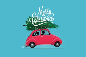 Couple in red car. Merry Christmas.