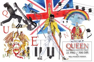 Queen Band Watercolor Clipart