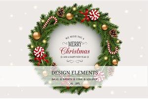 Realistic Christmas set. Vector