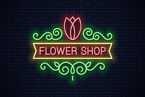 Flower shop neon sign.