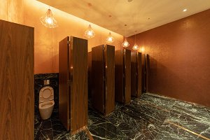 Public toilet. men bathroom doors in