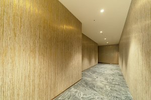 Empty wooden room corridor, walls an