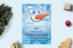 Merry Christmas Poster With Snowman