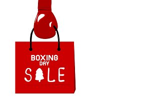 Boxing gloves holding shopping bag