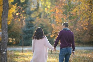 Loving couple are walking in the