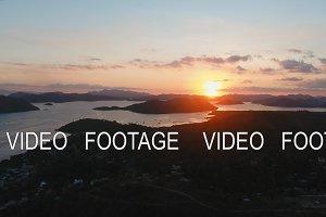 Beautiful sunset over sea and island