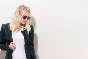 Blonde Woman Leather Jacket