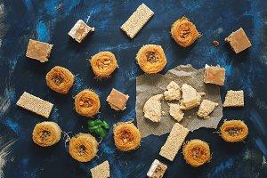 Oriental sweets, baklava, halva