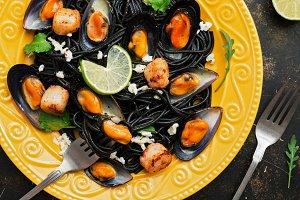 Closeup of black spaghetti with