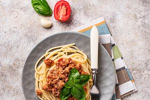 Pasta Bolognese. Spaghetti with meat