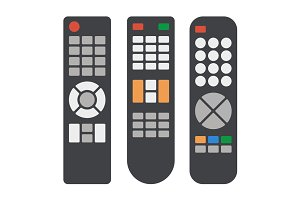 Tv Remote Control Icons Set