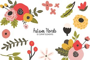 Autumn Florals Clipart Bundle