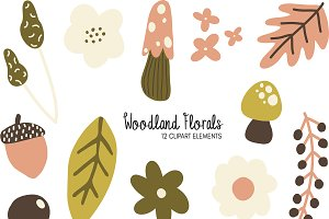 Woodland Florals Clipart Bundle
