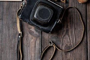 old vintage camera in a case