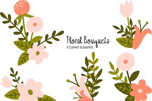 Floral Bouquets Clipart Bundle