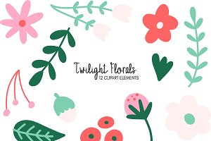 Twilight Florals Clipart Bundle