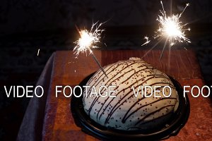 cake with fireworks