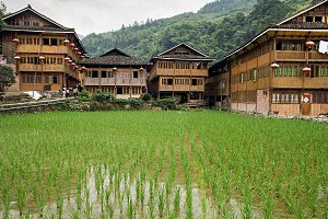 Wooden houses of Red Yao tribe