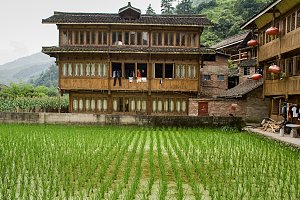 Wooden houses of Red Yao tribe.