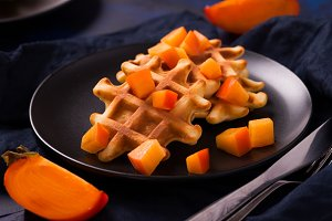 Belgian waffles with persimmon