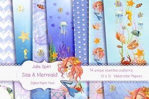 Sea & Mermaid Patterns/Digital Paper