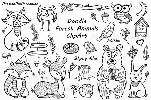 Doodle Forest Animals ClipArt