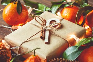 Christmas gift box in a kraft paper