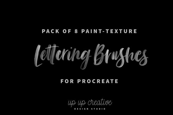 Photoshop Brushes: Up Up Creative - Eight Procreate Lettering Brushes