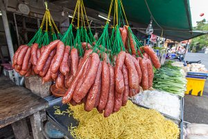 sausage sell in fresh food market