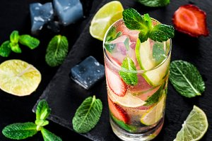 lemonade with strawberries, lime and