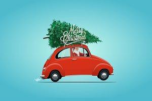 Santa in small red car