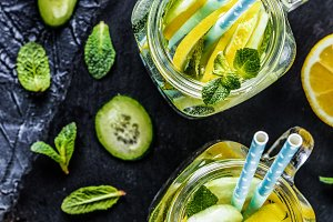 detox water with cucumber, lemon and