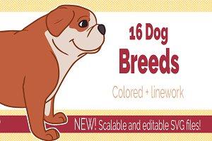 16 Dog breed illustrations PNG + SVG