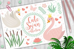 Cute swan princess character set of
