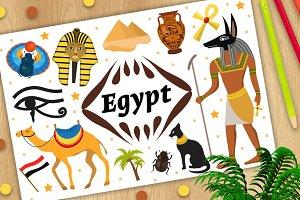 Ancient magic Egypt set icons