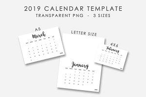 2019 Calendar Template 3 Sizes