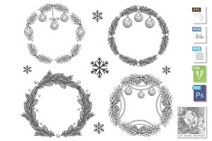 Christmas hand drawn wreath set
