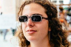 Pretty hipster girl in sunglasses
