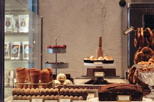Hipster bakery with different kinds