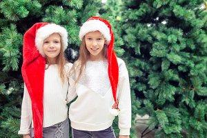 Little happy girls near fir-tree bra