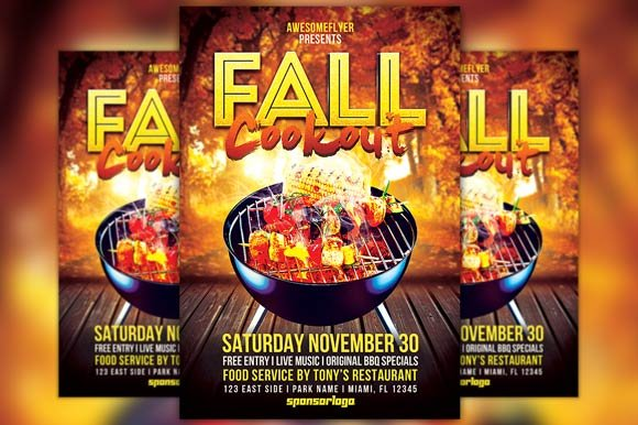 Fall Cookout Flyer Template Flyer Templates Creative Market