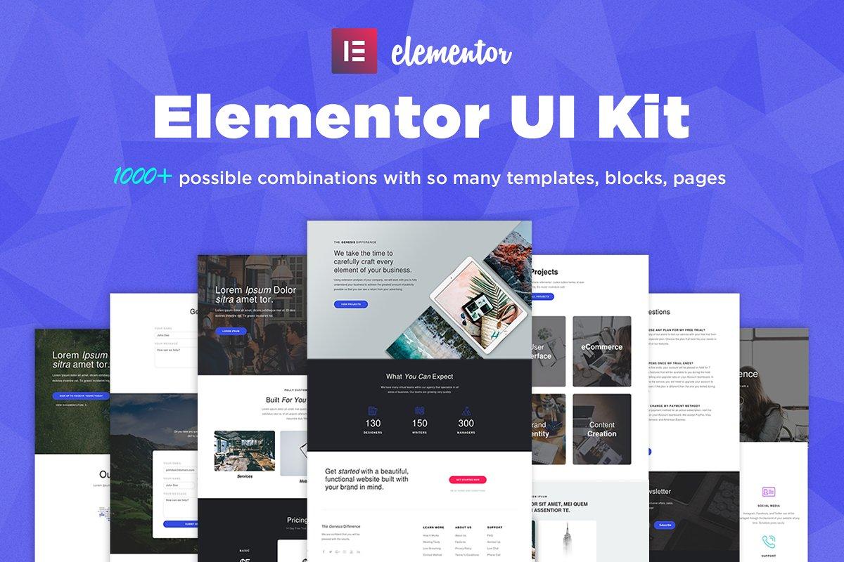 Elementor UI Kit, Templates, Blocks Free Download