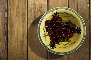 Berries cherry, behind the plate, st