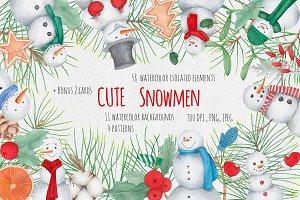 cute  watercolor Snowmen set