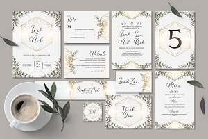 Geometric Wedding Invitation Set