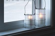 Cozy lanterns on a windowsill