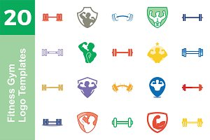 20 Logo Fitness Gym Templates Bundle