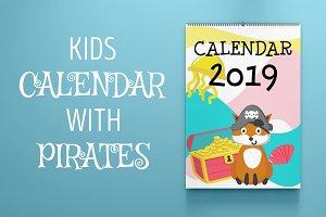Kids calendar with animal pirates
