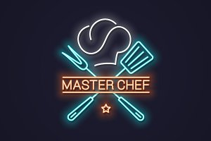 Chef master neon logo with chef.