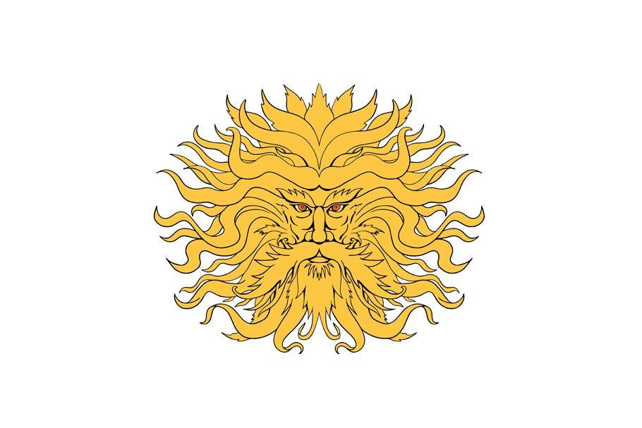 Helios Greek God of Sun Head Drawing